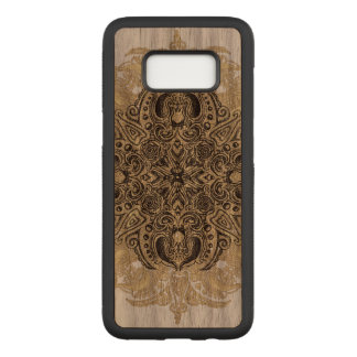 Fleur de Swirl Walnut Hardwood Carved Samsung Galaxy S8 Case