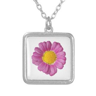 Fleur design square pendant necklace