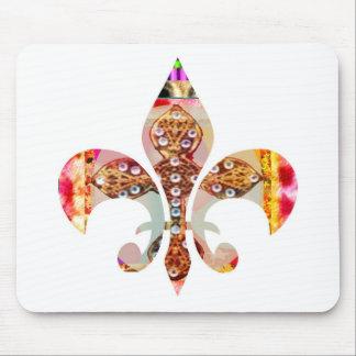 Fleur di lis Flowers Floral Jewel Pattern Mouse Pad