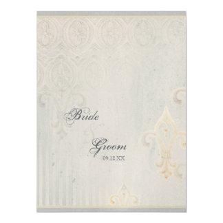 Fleur di Lys Damask 2 Grey Wedding Invitation