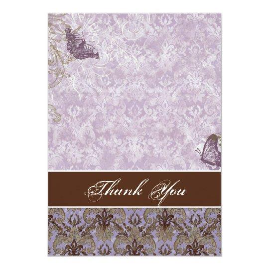 Fleur di Lys Damask - Wedding Thank You Notes Card