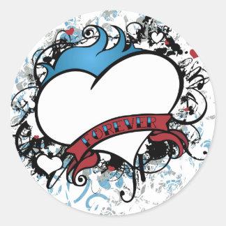 Fleur Forever Heart Round Sticker