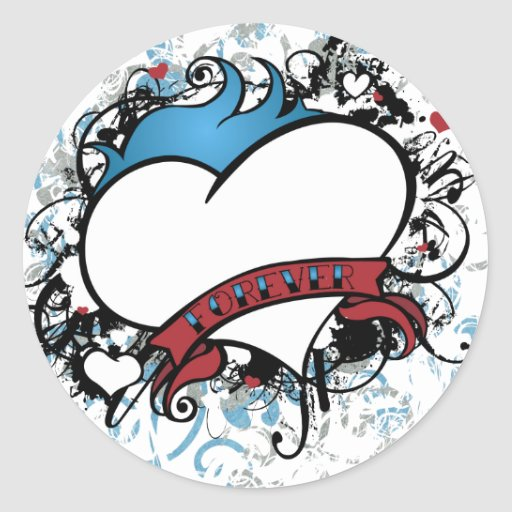 Fleur Forever Heart Round Stickers