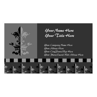 Fleur Heart Crown - Black Business Card Template
