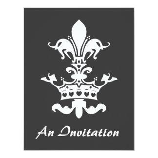 """Fleur Heart Crown - Black 4.25"""" X 5.5"""" Invitation Card"""