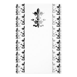 Fleur Heart Crown - Black Customized Stationery
