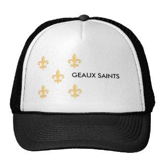FleurdelisGoldonWhite 1 GEAUX SAINTS Mesh Hats