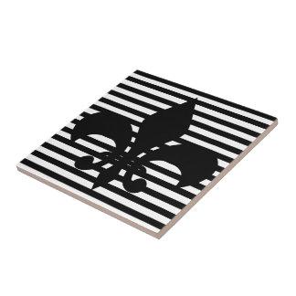 Fleurs-de-lis Black and White Striped Background Ceramic Tile