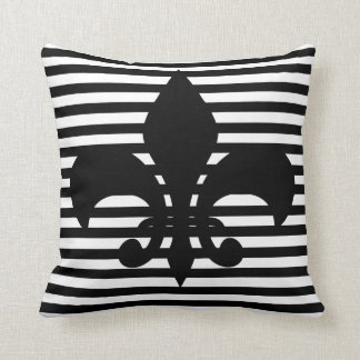Fleurs-de-lis Black and White Striped Background Cushion