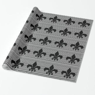 Fleurs-de-lis Black and White Striped Background Wrapping Paper