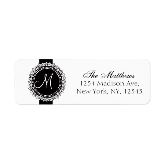 Fleurs de Lis Monogram Labels Black White