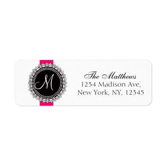 Fleurs de Lis Monogram Labels Pink Black White
