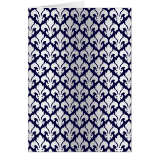 Fleurs-de-lys Silver and Blue Greeting Card
