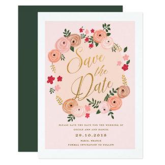 Fleurs du Bois Retro Floral Save the Date Card