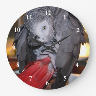 Flexible Congo African Grey Parrot with Red Tail Clock