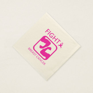 Flexing arms to fight breast cancer paper napkins