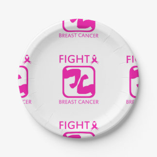 Flexing arms to fight breast cancer paper plate
