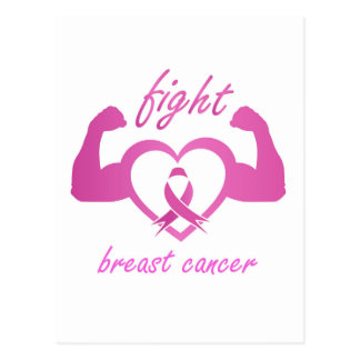 Flexing arms to fight breast cancer postcard