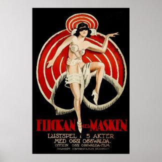 Flickan Med Masken - Vintage 1921 poster