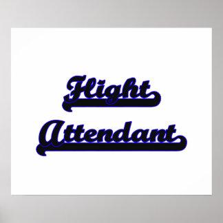 Flight Attendant Classic Job Design Poster