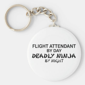 Flight Attendant Deadly Ninja Basic Round Button Key Ring