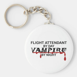 Flight Attendant Vampire by Night Basic Round Button Key Ring