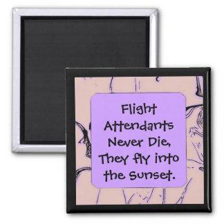 Flight Attendants fly into sunset Square Magnet