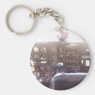 Flight Controls on Small Jet Plane Basic Round Button Key Ring