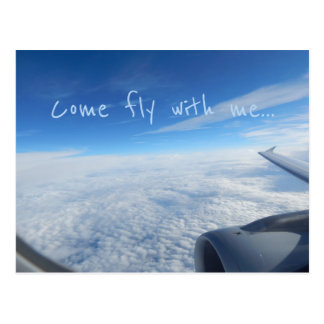 Flight - Flying above the clouds Postcard