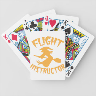 Flight instructor in orange Halloween flying witch Poker Deck