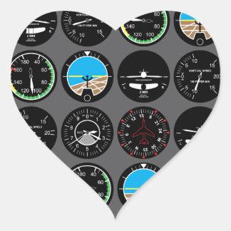Flight Instruments Heart Sticker