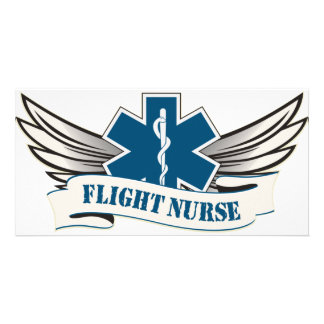flight nurse wings custom photo card