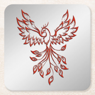 Flight of A Phoenix Square Paper Coaster