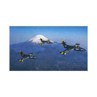 Flight of F9F Panthers over Japan Canvas Print