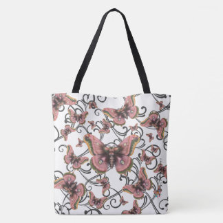 Flight of the Pink Butterfly Large Tote