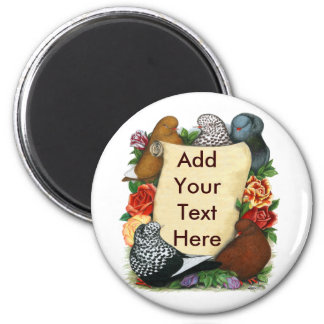 Flight Pigeon Scroll 6 Cm Round Magnet