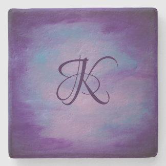 Flighty Bar | Monogram Purple Blue Pink Pastel | Stone Coaster