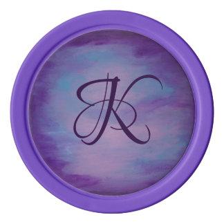 Flighty Play | Monogram Pink Blue Purple | Pastel Poker Chips