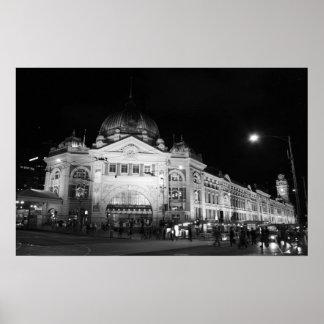 Flinders Station, Melbourne - Black & White Poster