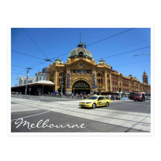 flinders station taxi postcard