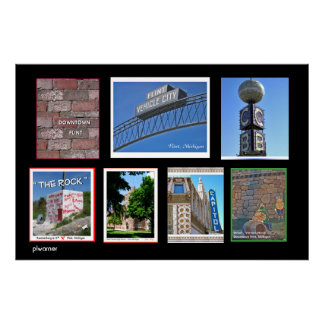 Flint Michigan Landmarks II Poster