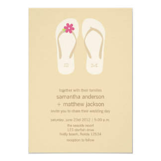 "Flip Flop Beach Wedding Invitations -Pink Flower 5"" X 7"" Invitation Card"