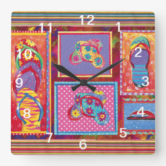 Flip-flop Fun Collage wall clock