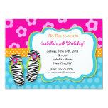 Flip Flop Luau Pool Party Birthday Invitations