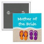 Flip Flop Wedding on the Beach Bridal Party Button