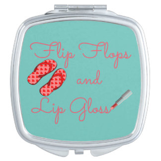 Flip Flops and Lip Gloss Compact Mirror