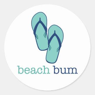 Flip Flops Beach Bum Round Sticker