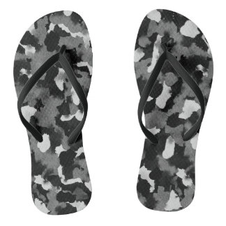Flip Flops Black White Abstract Thongs