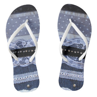 Flip-flops gallons lace, chain, strass, Jean Thongs