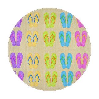 "Flip Flops Glass Cutting Board Round (12"")"